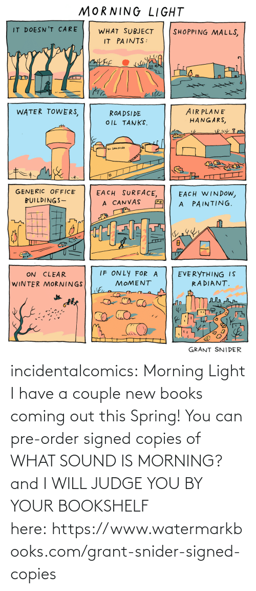 Coming Out: incidentalcomics: Morning Light I have a couple new books coming out this Spring! You can pre-order signed copies of WHAT SOUND IS MORNING? and I WILL JUDGE YOU BY YOUR BOOKSHELF here: https://www.watermarkbooks.com/grant-snider-signed-copies