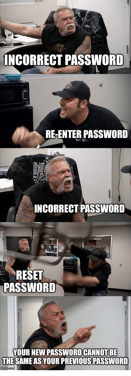 Incorrect Password: INCORRECT PASSWORD  RE-ENTER PASSWORD  INCORRECT PASSWORD  RESET  PASSWORD  YOUR NEW PASSWOD CANNOT BE  THE SAME AS YOUR PREVIOUS PASSWORD