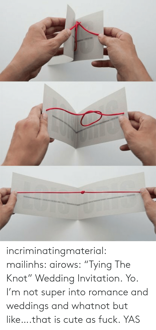 """Yo I: incriminatingmaterial:  mailinhs:  airows:  """"Tying The Knot"""" Wedding Invitation.  Yo. I'm not super into romance and weddings and whatnot but like….that is cute as fuck.  YAS"""