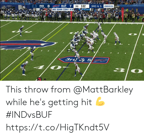 Getting Hit: IND D  BUF 7  2ND 3:02  3RD & 5  GEICO  3RD DOWN CONV: 4/8  54  3rd & 5 This throw from @MattBarkley while he's getting hit 💪  #INDvsBUF https://t.co/HigTKndt5V