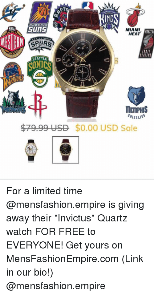 """Miami Heat: IND  MIAMI  HEAT  ORTLA  4515  30  SEATTLE  SUNICS  ORS  MEMPHIS  $79.99 USD $0.00 USD Sale For a limited time @mensfashion.empire is giving away their """"Invictus"""" Quartz watch FOR FREE to EVERYONE! Get yours on MensFashionEmpire.com (Link in our bio!) @mensfashion.empire"""