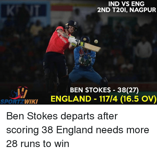 Ind Vs Eng: IND VS ENG  2ND T20I, NAGPUR  BEN STOKES 38 (27)  WIKI  ENGLAND 117/4 (16.5 OVO  SPORT Ben Stokes departs after scoring 38  England needs more 28 runs to win