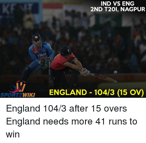 Ind Vs Eng: IND VS ENG  2ND T20I, NAGPUR  Star  WIKI  ENGLAND 10413 (15 ov)  SPORT England 104/3 after 15 overs England needs more 41 runs to win