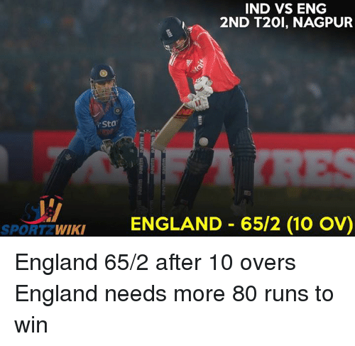 Ind Vs Eng: IND VS ENG  2ND T20l, NAGPUR  Sta  WIKI  ENGLAND 65/2 (10 OV)  SPORT England 65/2 after 10 overs England needs more 80 runs to win
