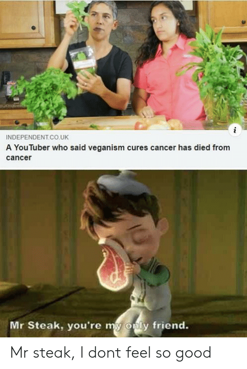 veganism: INDEPENDENT.CO.UK  A You luber who said veganism cures cancer has died from  cance  Mr Steak, you're my  only friend. Mr steak, I dont feel so good