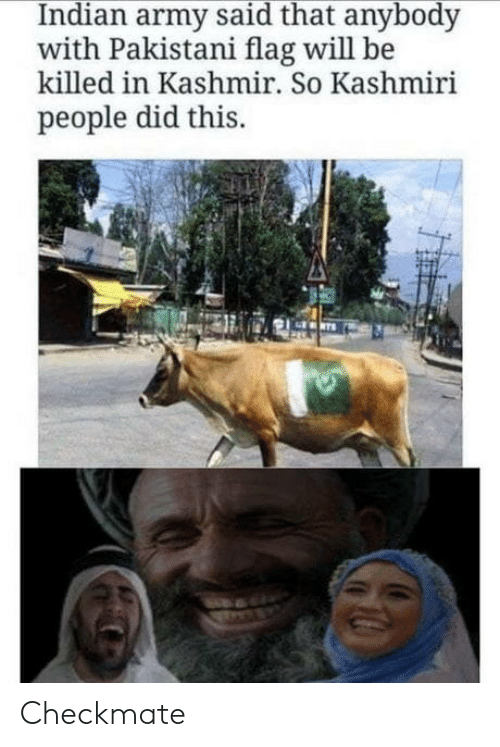 Pakistani: Indian army said that anybody  with Pakistani flag will be  killed in Kashmir. So Kashmiri  people did this. Checkmate