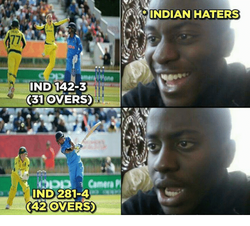 indded: INDIAN HATERS  77)  IND 142-3  31 OVERS)  IND 281-4  (42 OVERS  (42 OVERS
