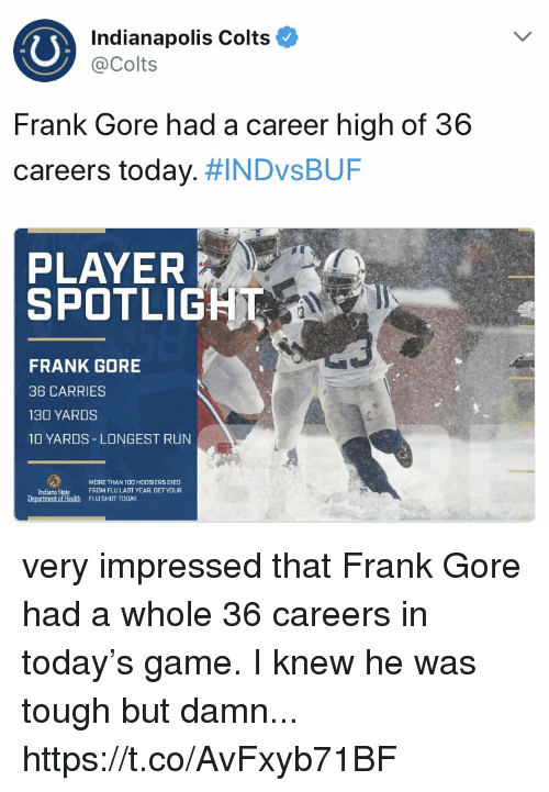 Frank Gore: Indianapolis Colts  @Colts  Frank Gore had a career high of 36  careers today. NDvsBUF  PLAYER  SPOTLIGH  ブ  FRANK GORE  36 CARRIES  130 YARDS  10 YARDS LONGEST RUN  MDRE THAN 1D0 HOOSIERS DIED  FROM FLU LAST YEAR GET YOUR  Indiana State  Department of Health FLU SHOT TODAY very impressed that Frank Gore had a whole 36 careers in today's game. I knew he was tough but damn... https://t.co/AvFxyb71BF