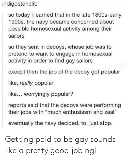 "homosexual: indigostohelit:  so today i learned that in the late 1800s-early  1900s, the navy became concerned about  possible homosexual activity among their  sailors  so they sent in decoys, whose job was to  pretend to want to engage in homosexual  activity in order to find gay sailors  except then the job of the decoy got popular  like, really popular  like... worryingly popular?  reports said that the decoys were performing  their jobs with ""much enthusiasm and zeal""  eventually the navy decided. to. just stop. Getting paid to be gay sounds like a pretty good job ngl"