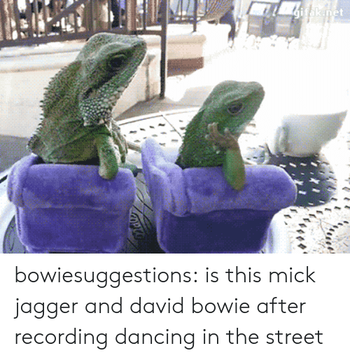 Mick Jagger: inet bowiesuggestions:  is this mick jagger and david bowie after recording dancing in the street