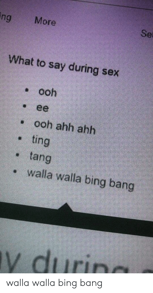 During Sex: ing  Set  More  What to say during sex  ooh  ее  ooh ahh ahh  ting  tang  walla walla birng bang  y durin walla walla bing bang