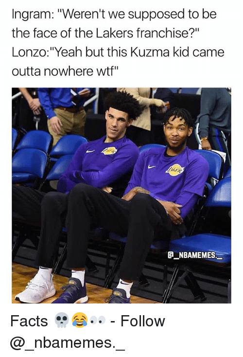 """Outta Nowhere: Ingram: """"Weren't we supposed to be  the face of the Lakers franchise?""""  Lonzo:""""Yeah but this Kuzma kid came  outta nowhere wtf""""  ATR  NBAMEMES Facts 💀😂👀 - Follow @_nbamemes._"""