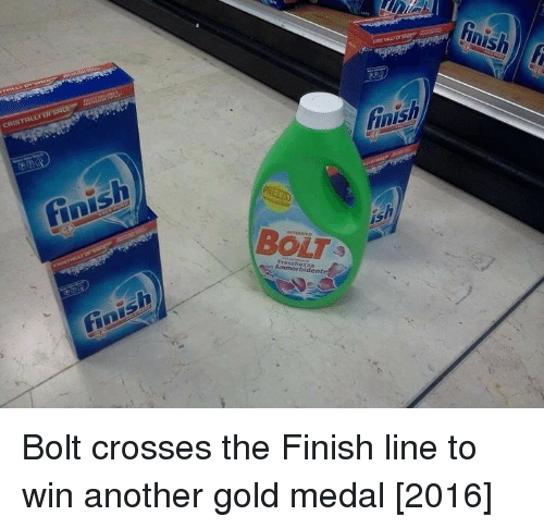 Finish Line: inish  BOLT Bolt crosses the Finish line to win another gold medal [2016]