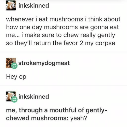 Ironic, Yeah, and How: inkskinned  whenever i eat mushrooms i think about  how one day mushrooms are gonna eat  me... i make sure to chew really gently  so they'll return the favor 2 my corpse  strokemydogmeat  Hey op  inkskinned  me, through a mouthful of gently-  chewed mushrooms: yeah?