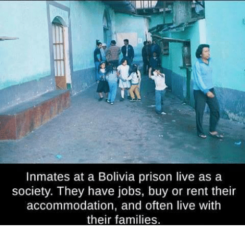 accommodating: Inmates at a Bolivia prison live as a  society. They have jobs, buy or rent their  accommodation, and often live with  their families.
