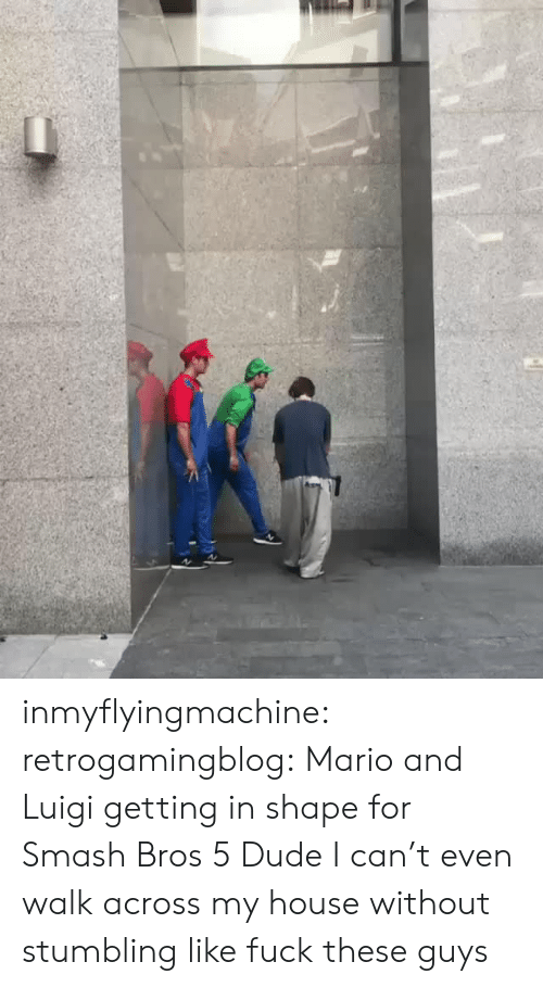 stumbling: inmyflyingmachine:  retrogamingblog: Mario and Luigi getting in shape for Smash Bros 5  Dude I can't even walk across my house without stumbling like fuck these guys