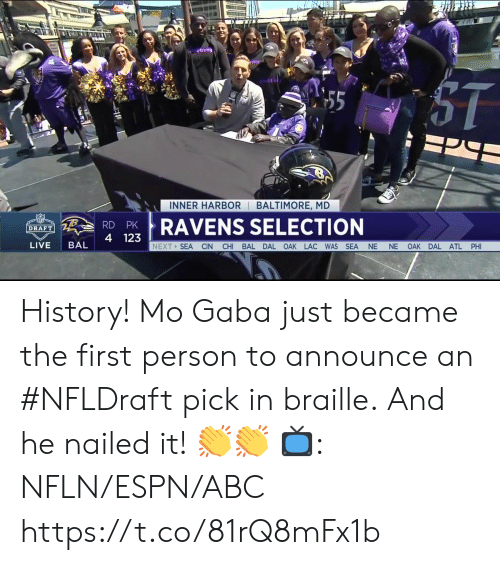 harbor: INNER HARBOR BALTIMORE, MD  RDPRAVENS SELECTION  4 123  DRAFT  LIVE BAL  NEXT SEA CIN CHI BAL DAL OAK LAC WAS SEA NE NE OAK DAL ATL PHI History! Mo Gaba just became the first person to announce an #NFLDraft pick in braille.  And he nailed it! 👏👏   📺: NFLN/ESPN/ABC https://t.co/81rQ8mFx1b