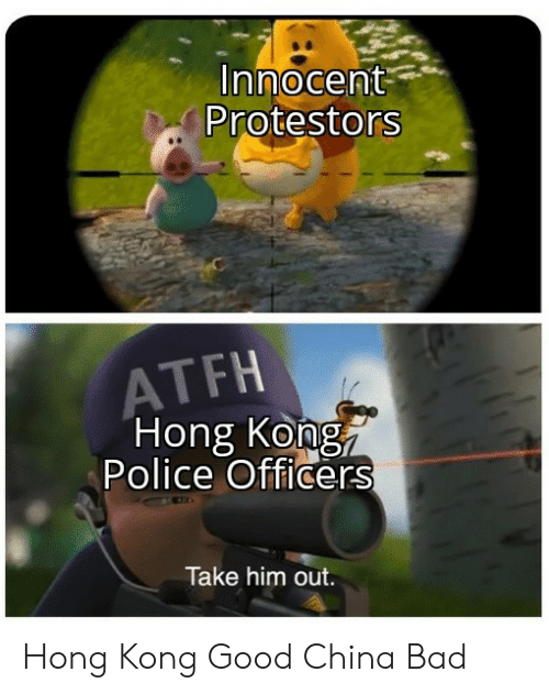 Bad, Police, and China: Innocent  Protestors  ATFH  Hong Kong  Police Officers  Take him out. Hong Kong Good China Bad