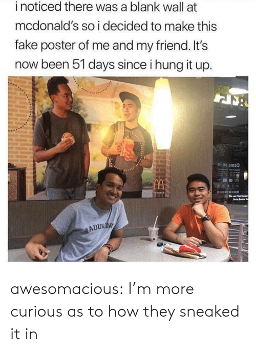 Fake, McDonalds, and Tumblr: inoticed there was a blank wall at  mcdonald's so i decided to make this  fake poster of me and my friend. It's  now been 51 days since i hung it up.  ni no emoo  movin  Ths  ADUAIN awesomacious:  I'm more curious as to how they sneaked it in