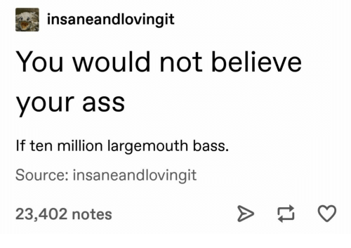 bass: insaneandlovingit  You would not believe  your ass  If ten million largemouth bass.  Source: insaneandlovingit  23,402 notes