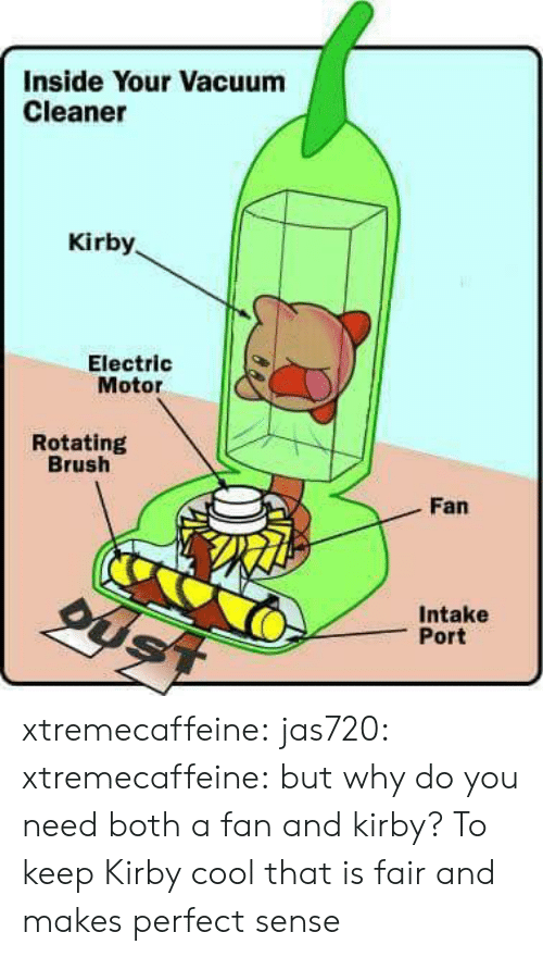 Motor: Inside Your Vacuum  Cleaner  Kirby  Electric  Motor  Rotating  Brush  Fan  Intake  Port xtremecaffeine: jas720:   xtremecaffeine:  but why do you need both a fan and kirby?  To keep Kirby cool   that is fair and makes perfect sense