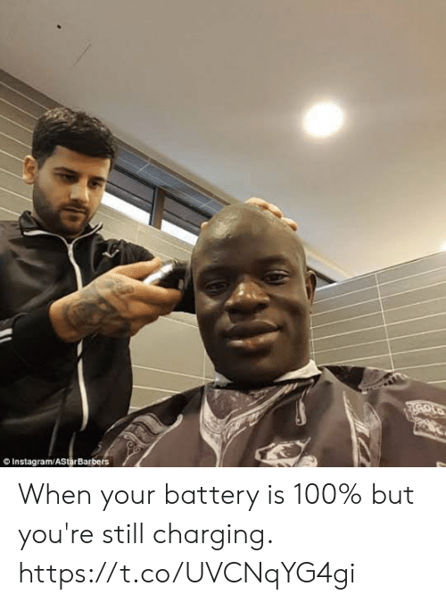 Instagram, Memes, and 🤖: Instagram/AStarBarbers When your battery is 100% but you're still charging. https://t.co/UVCNqYG4gi