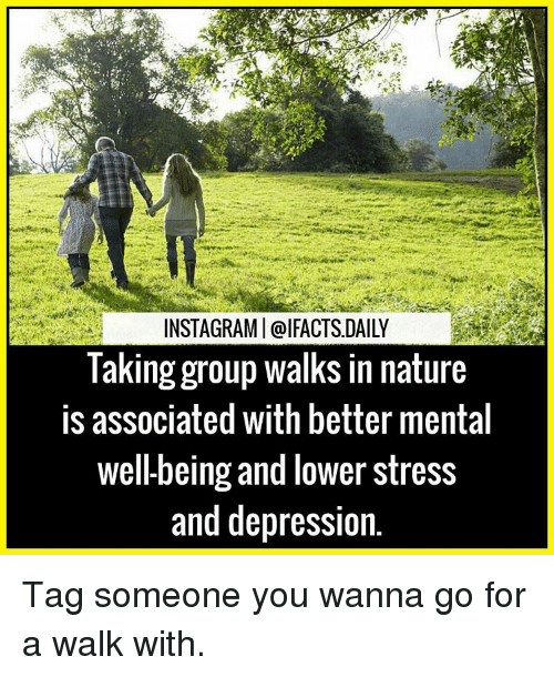 Wanna Go For A Walk: INSTAGRAMI @IFACTS DAILY  Taking group walks in nature  is associated with better mental  Wel-being and lower Stress  and depression. Tag someone you wanna go for a walk with.