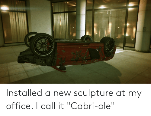 """Office, New, and Call: Installed a new sculpture at my office. I call it """"Cabri-ole"""""""