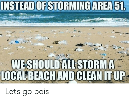 Area 51, All, and Let's: INSTEAD OF STORMING AREA 51,  WESHOULD ALL STORMA  LOCALBEACH ANDCLEAN IT UP Lets go bois