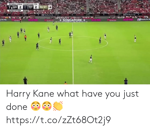 What Have You: INTERNATIONAL CHAMPIONS CUP  JUV 2  TOT 2 91:57 +4  SINGAPORE  AIA100  AIA100  00  AIA100  AIA100  AIA100  AIA100  npore  SINGAPORE Harry Kane what have you just done 😳😳👏 https://t.co/zZt68Ot2j9