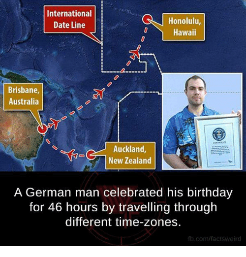 brisbane: International  Honolulu,  Date Line  Hawaii  Brisbane,  Australia  Auckland  New Zealand  A German man celebrated his birthday  for 46 hours by travelling through  different time-zones.  fb.com/facts Weird