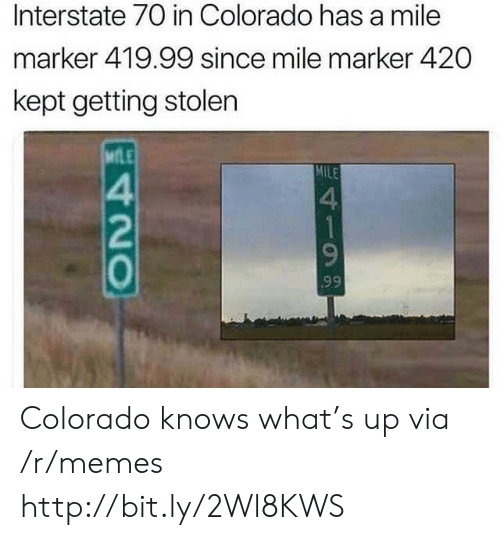 Colorado: Interstate 70 in Colorado has a mile  marker 419.99 since mile marker 420  kept getting stolen  MLE  MILE  4  1  99  420 Colorado knows what's up via /r/memes http://bit.ly/2Wl8KWS