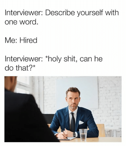 "Can He Do That: Interviewer: Describe yourself with  one word  Me: Hired  Interviewer: ""holy shit, can he  do that?*"