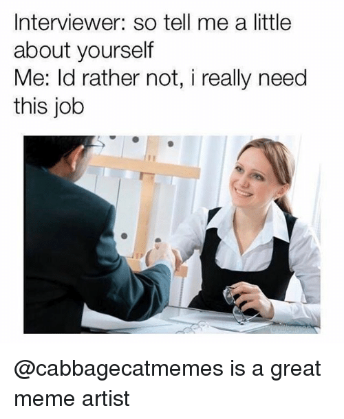 Great Meme: Interviewer: so tell me a little  about yourself  Me: ld rather not, i really need  this job @cabbagecatmemes is a great meme artist