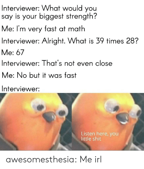 Shit, Tumblr, and Blog: Interviewer: What would you  say is your biggest strength?  Me: I'm very fast at math  Interviewer: Alright. What is 39 times 28?  Me: 67  Interviewer: That's not even close  Me: No but it was fast  Interviewer:  Listen here, you  little shit awesomesthesia:  Me irl