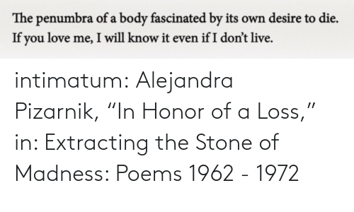 "In Class: intimatum: Alejandra Pizarnik, ""In Honor of a Loss,"" in: Extracting the Stone of Madness: Poems 1962 - 1972"