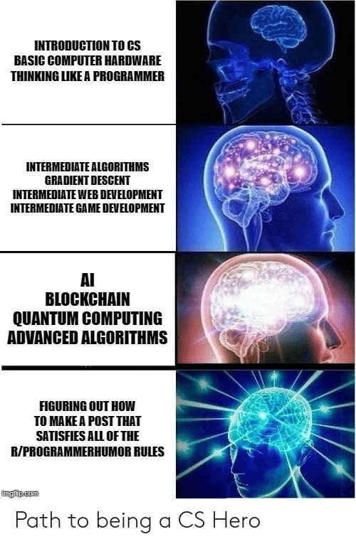 how to make a: INTRODUCTION TO CS  BASIC COMPUTER HARDWARE  THINKING LIKE A PROGRAMMER  INTERMEDIATE ALGORITHMS  GRADIENT DESCENT  INTERMEDIATE WEB DEVELOPMENT  INTERMEDIATE GAME DEVELOPMENT  AI  BLOCKCHAIN  QUANTUM COMPUTING  ADVANCED ALGORITHMS  FIGURING OUT HOW  TO MAKE A POST THAT  SATISFIES ALL OF THE  R/PROGRAMMERHUMOR RULES  ingfip.com Path to being a CS Hero