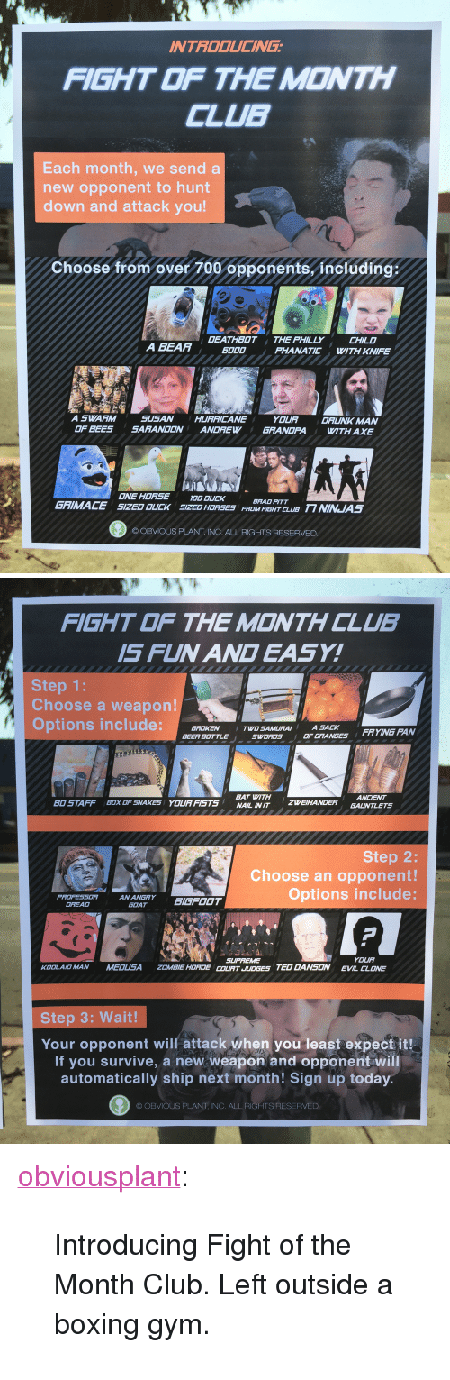 """Brad Pitt: INTROOUCING  FIGHT OF THE MONTH  CLUB  Each month, we send a  new opponent to hunt  down and attack you!  Choose from over 700 opponents, including;  OEATHBOT THE PHILLY  CHILD  A BEAA  6000  PHANATIC WITH KNIFE  A SWARM  SUSAN  OF BEES SARANDON ANDREW  HURRICANE  YOUA  GRANDFA  DRUNK MAN  ITH AXE  ONE HOASEOODLCK  SIZED OUCK  BRAD PITT  FROM FIEHT CLU17 NINJUAS  GRIMACE  SIZED HORSES  O OBVIOUS PLANT, INC. ALL RIGHTS RESERVED   FIGHT THE M©NTH CLUB  IS FUN AN EASY!  Step 1:  Choose a weapon!  Options include:BROKE  TWO SAMURAI ASA  FRYING PAN  BEER BOTTLE  SWDRDS  OF ORANGES  BAT WITH  NAIL IN IT  ANCIENT  BO STAFF  ZWEIHANDER GAUNTLETS  BOX OF SNAKES  YOURFISTS  Step 2:  Choose an opponent!  Options include:  PROFESSORANANGRYBIGFOOT  GOAT  OREAD  SUPFEME  COUAT JUDGES TED DANSON  YOUA  EVIL CLONE  KOOLAID MAN  MEDUSA  ZOMBIE HOADE  Step 3: Wait!  Your opponent will attack when you least expect it!  If you survive, a new weapon and opponent will  automatically ship next mónth! Sign up to  OBVIOUS PLANT, INC, ALL RIGHTS RESERVED <p><a href=""""http://obviousplant.com/post/157868907843/introducing-fight-of-the-month-club-left-outside"""" class=""""tumblr_blog"""" target=""""_blank"""">obviousplant</a>:</p> <blockquote><p>Introducing Fight of the Month Club. Left outside a boxing gym.</p></blockquote>"""