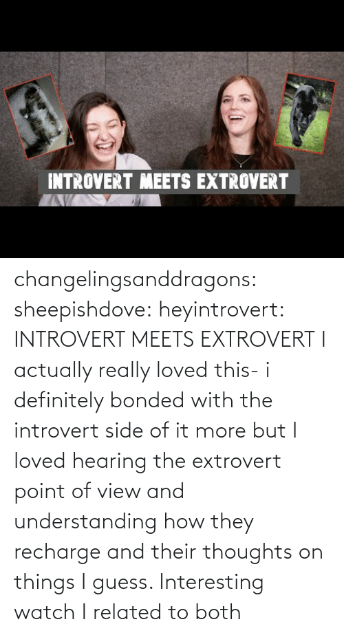 Understanding: INTROVERT MEETS EXTROVERT changelingsanddragons: sheepishdove:  heyintrovert: INTROVERT MEETS EXTROVERT I actually really loved this- i definitely bonded with the introvert side of it more but I loved hearing the extrovert point of view and understanding how they recharge and their thoughts on things I guess. Interesting watch    I related to both