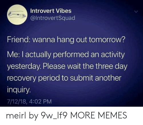 Dank, Introvert, and Memes: Introvert Vibes  @IntrovertSquad  Friend: wanna hang out tomorrow?  Me: I actually performed an activity  yesterday. Please wait the three day  recovery period to submit another  inquiry.  7/12/18, 4:02 PM meirl by 9w_lf9 MORE MEMES