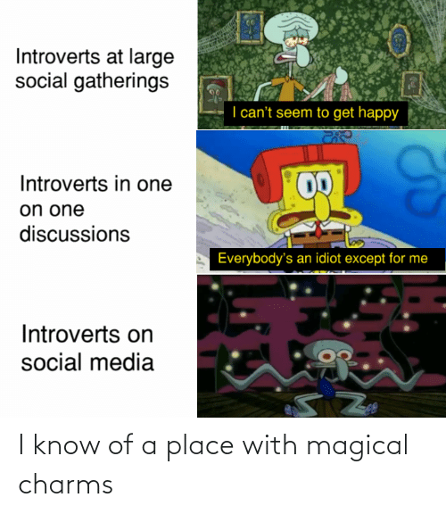 Social Media, Happy, and Idiot: Introverts at large  social gatherings  I can't seem to get happy  Introverts in one  on one  discussions  Everybody's an idiot except for me  Introverts on  social media I know of a place with magical charms