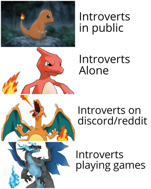 Being Alone, Reddit, and Games: Introverts  in public  Introverts  Alone  Introverts on  discord/reddit  Introverts  playing games