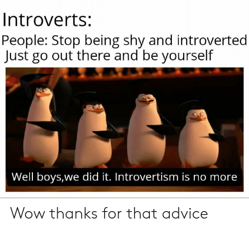 Wow Thanks: Introverts:  People: Stop being shy and introverted  Just go out there and be yourself  Well boys,we did it. Introvertism is no more Wow thanks for that advice