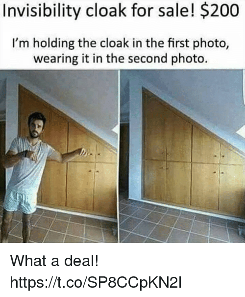 What A Deal: Invisibility cloak for sale! $200  I'm holding the cloak in the first photo,  wearing it in the second photo What a deal! https://t.co/SP8CCpKN2l
