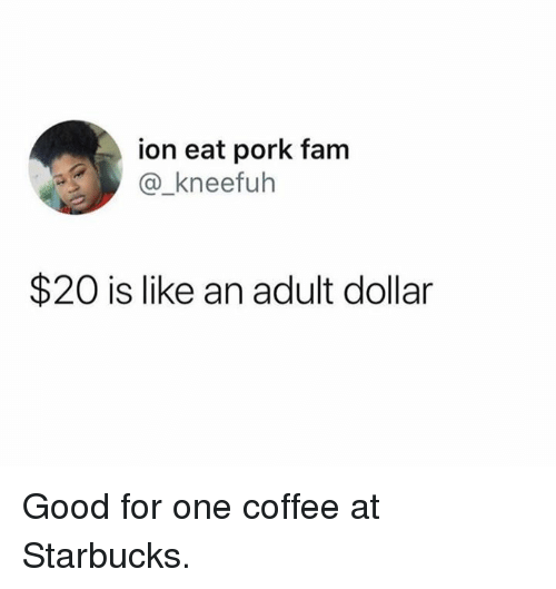 Fam, Memes, and Starbucks: ion eat pork fam  @_kneefuh  $20 is like an adult dollar Good for one coffee at Starbucks.