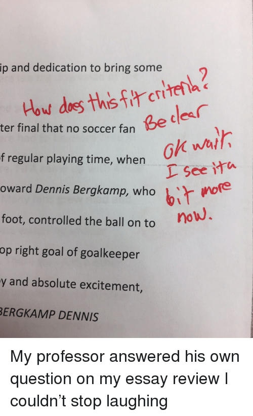 Bir: ip and dedication to bring some  Be cdes  ter final that no soccer fan  ok wal  L See ita  owerd Dennis Bergkamp, who bir woe  i more  f regular playing time, when  foot, controlled the ball on to  op right goal of goalkeeper  y and absolute excitement,  ERGKAMP DENNIS My professor answered his own question on my essay review I couldn't stop laughing