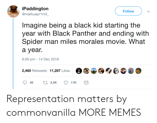 Black Panther: iPaddington  @markuspr1m3  Follow  Imagine being a black kid starting the  year with Black Panther and ending with  Spider man miles morales movie. What  a year.  6:06 pm -14 Dec 2018  2,460 Retweets 11,287 Likes Representation matters by commonvanilla MORE MEMES