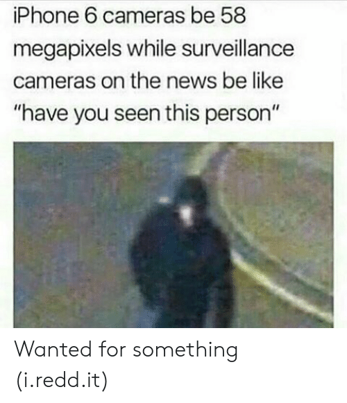 "have you seen this: iPhone 6 cameras be 58  megapixels while surveillance  cameras on the news be like  ""have you seen this person"" Wanted for something (i.redd.it)"