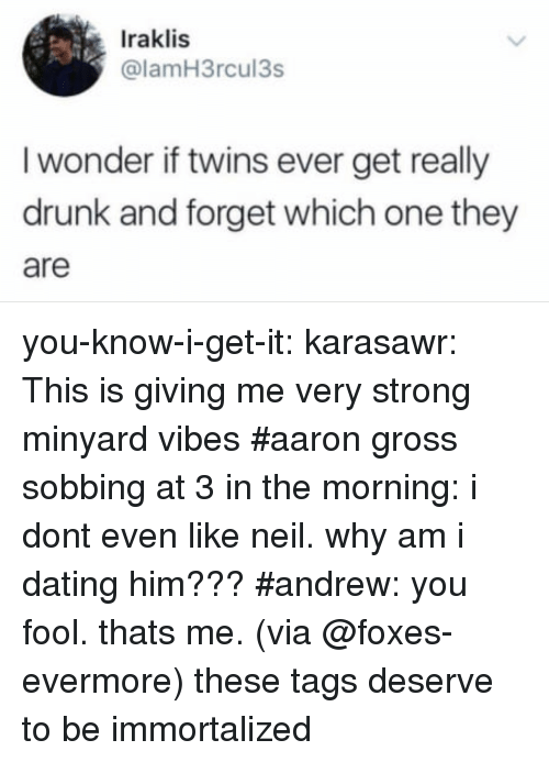Dating, Drunk, and Target: Iraklis  @lamH3rcul3s  I wonder if twins ever get really  drunk and forget which one they  are you-know-i-get-it: karasawr: This is giving me very strong minyard vibes   #aaron gross sobbing at 3 in the morning: i dont even like neil. why am i dating him??? #andrew: you fool. thats me. (via @foxes-evermore) these tags deserve to be immortalized