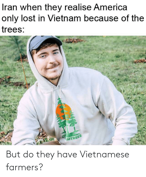 America: Iran when they realise America  only lost in Vietnam because of the  trees:  MTREES But do they have Vietnamese farmers?